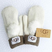 UGG Winter Woman Men Knit Gloves F White