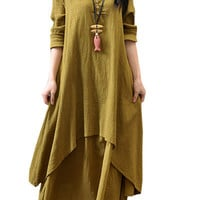 Yellow Long Sleeve Layered Maxi Dress