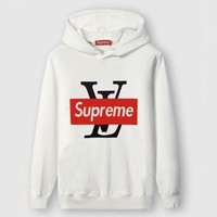 Louis Vuitton X Supreme Fashion Casual Top Sweater Pullover Hoodie
