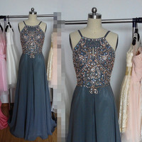 Sexy Long Charcoal Grey Prom Dress,Backless Beaded Party Dress Homecoming Formal Evening Gowns 2015