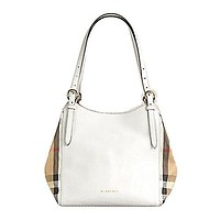 Tote Bag Handbag Authentic Burberry Small Canter in Leather and House Check Natural Color Made in Italy