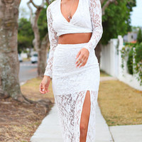 White Floral Lace Overlay Full Sleeve Two Piece Skirt set
