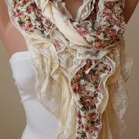 Mother's Day - Cotton Ruffle Scarf - Lace Scarf - Cotton Scarf