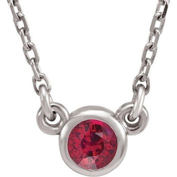 "Sterling Silver 3 mm Round Chatham® Lab-Created Ruby Bezel-Set Solitaire 16"" Necklace"