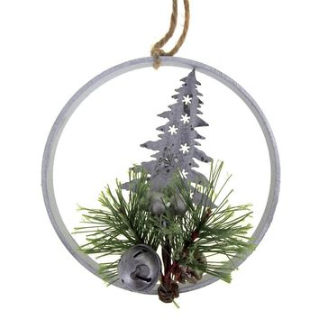 Metal Tree Wall Hanging Christmas Holiday Decoration, 6-1/2-Inch