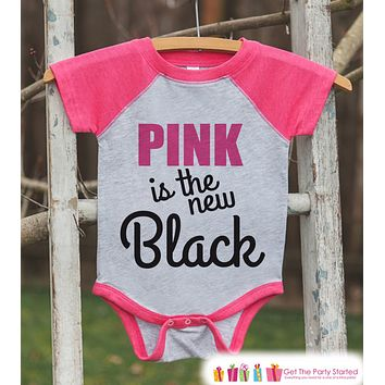 Kid's Cancer Awareness Outfit - Pink is the New Black Onepiece or Tshirt - Pink Raglan for Baby, Toddler, Youth - Fight Cancer Outfit