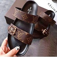 Louis Vuitton LV fashion hot sale printed letters ladies sandals slippers