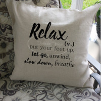 Relax cotton throw pillow cover, 18x18