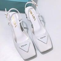 PRADA New Triangle Logo Square Toe Sandals and High Heels Shoes White