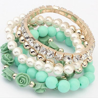 Fashion Jewelry 2015 Trendy Fashion Candy Color Pearl Rose Flower Multilayer Charm Bracelet & Bangle For Women girl lady = 1958628100