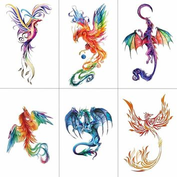 TCOOL Colorful Watercolor Phoenix Dragon Temporary Tattoos for Kids Women Hand Tatoo Sticker Body Art 9.8X6cm A-114
