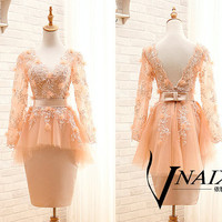 Custom Made Color Size Crystal Lace Long Sleeve Short Prom Dress 2014 Champagne Prom Dresses Long Sleeve Lace Champagne Evening Dresses
