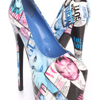 Blue Printed Pump High Heels Patent