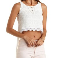 White Crochet & Chiffon High-Low Tank Top by Charlotte Russe