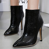 Fashion All-match Snake Print Leather Pointed-toe Stiletto Heels Shoes Women Ankle Boots