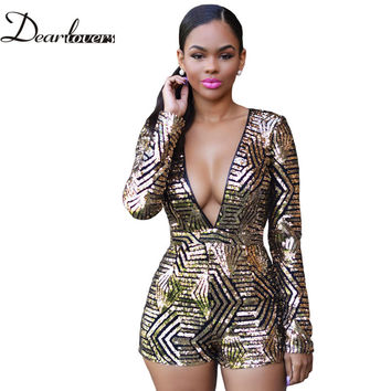 Hot 2016 Sexy V-Neck Women High Waist Rompers And Jumpsuits Rose/Black Gold Sequin Ladies Long Sleeve Playsuit Plus size LC60841