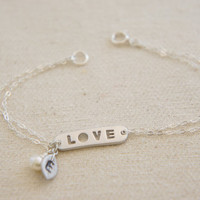 Personalized silver love bracelet with pearls- bridesmaids gift, wedding, modern, casual, everday, birthday gift
