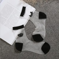 Eye embroidery crystal Harajuku goth punk series cool female essential hollow thin short socks women sexy Glitter silver socks