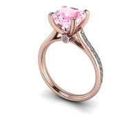 Pink Topaz and Diamond Engagement Ring Cushion Cut