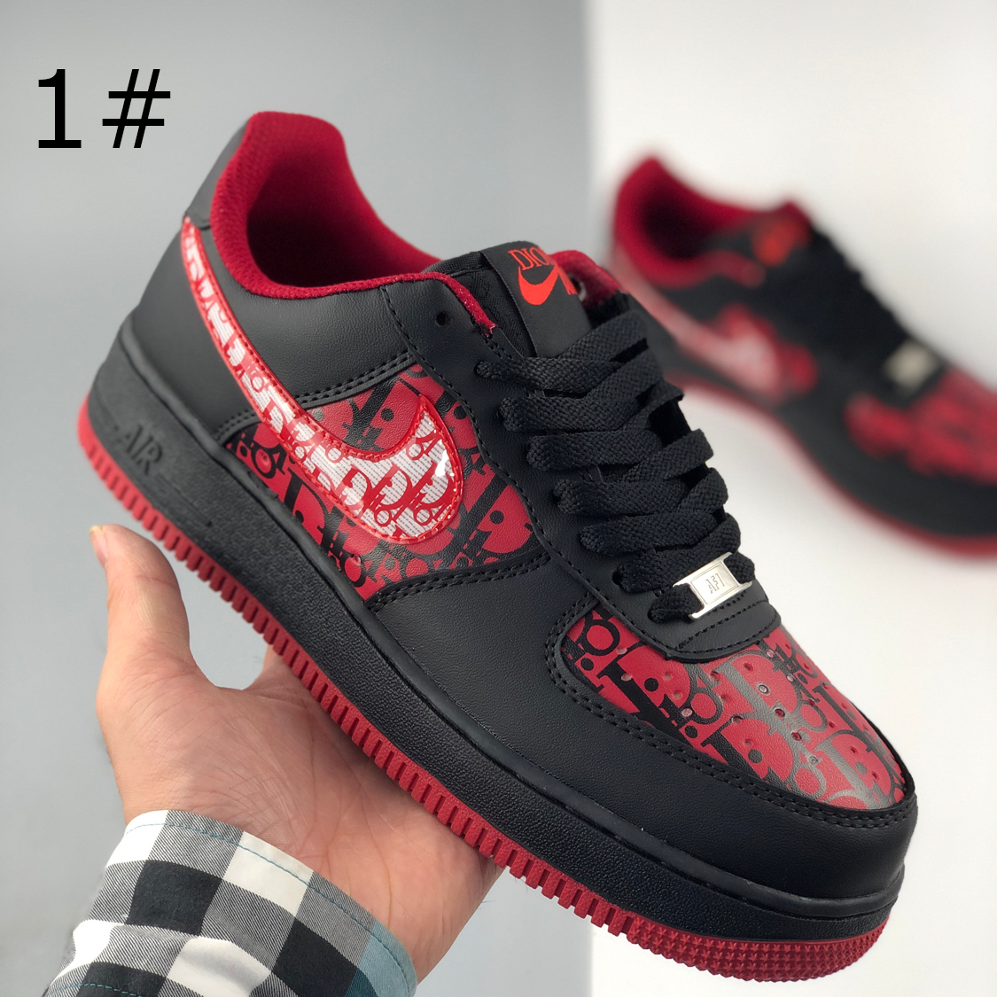 Image of Nike Dior Air Force 1 printed flat casual sneakers for men and women-1