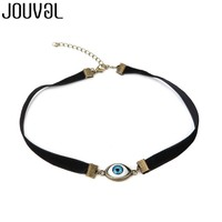 JOUVAL 2018 Harajuku Chokers Necklaces For Women Black Velvet Vintage Metal Demon Eye Chokers Halloween Gothic Jewelry N1759