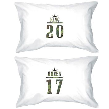 King And Queen Military Pattern Custom Matching Couple White Pillowcases