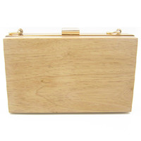 Khaki Wood Clutch Bag