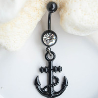 Anchor Pirate Rhinestone Crystal 316L Stainless Steel Belly Button Ring