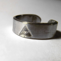 Zelda Ring,  Classic Triforce, Adjustable Aluminum Ring