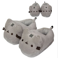 Pusheen cat Plush Slippers Anime Kawaii Pusheen Soft Plush Winter Warm Slippers Cotton Indoor Hourse Slippers For Adult GT102F