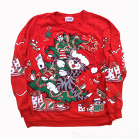 Cat Ugly Christmas Red Cat Sweater - Christmas Cat Crewneck Sweatshirt Funny Gift - Cat Sweater - Red Sweatshirt - Quirky Gift