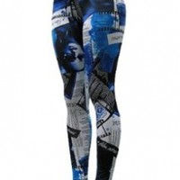 Long Leggings - Color Newspaper Print, Regular and Plus Size