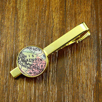 Tie clips,Golden Map Tie clips ,USA city map Tie Clips,Vintage  AUSPIN   map  Tie clips ,Weeding gift,personnality gift,