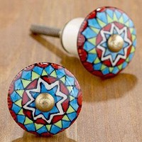 Ceramic Geometric Multicolor Knob, Set of 4  - Knobs - Cost Plus World Market