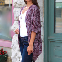 Ornate Print Cardigan {Burgundy}