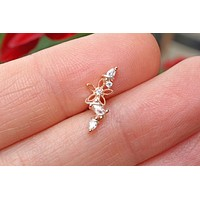 Rose Gold Flower and Vine Ear Climber Cartilage Helix Earring Piercing