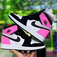 Vsgirlss Nike AJ jordan 1 11 High top Classic Basketball shoes Little wasp panda Pink