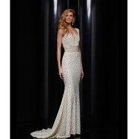 Ivory Beaded & Embellished Floor Length Gown Prom 2015
