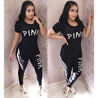 Victoria's Secret Pink Popular Women Casual Print Short Sleeve Top Pants Two-Piece Black