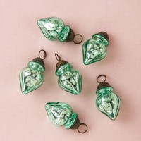 Luna Bazaar Mini Mercury Glass Ornaments - (Set of 6 Blanche Design, 1-Inch, Vintage Green) - Vintage-Style Decoration