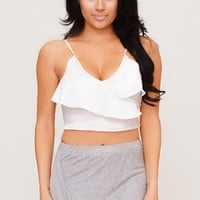 Ruffles Away Crop Top-White