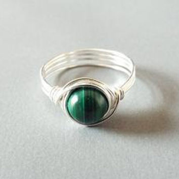Malachite Ring - Wire Wrap Ring - Green Stone Ring - Wire Wrapped Jewelry Handmade - Simple Ring - Cute Ring - Pretty Ring - Unique Ring