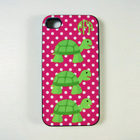 iPhone 4, 4S or 5 Cell Phone Case Turtles and Monogram, Turtles Phone Case, Seashore iPhone Case, Beach iPhone Case