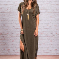 Comfy Chic Maxi Dress, Olive