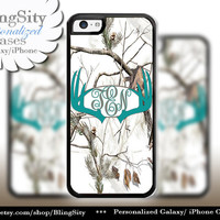 Turquoise Antlers Monogram iPhone 5C 6 Plus Case Browning iPhone 5s iPhone 4 case Ipod White Camo Deer Personalized Country Inspired Girl