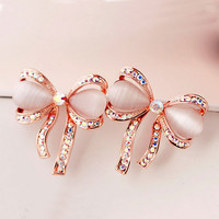 Glamorous Bow Opal and Rhinestone Earrings