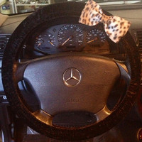 Set of steering wheel cover and car console guard cheetah print