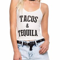 Tacos & Tequila Cropped Tank Top