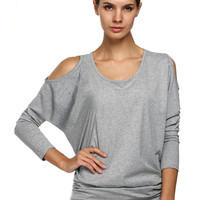 Plain Cutout-Shoulder Sweater