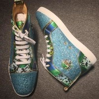DCCK Cl Christian Louboutin Rhinestone Style #1949 Sneakers Fashion Shoes